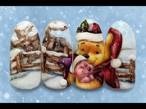 Christmas Winnie-the-Pooh Nail Design / Disney Nails / Best Christmas Nail Art