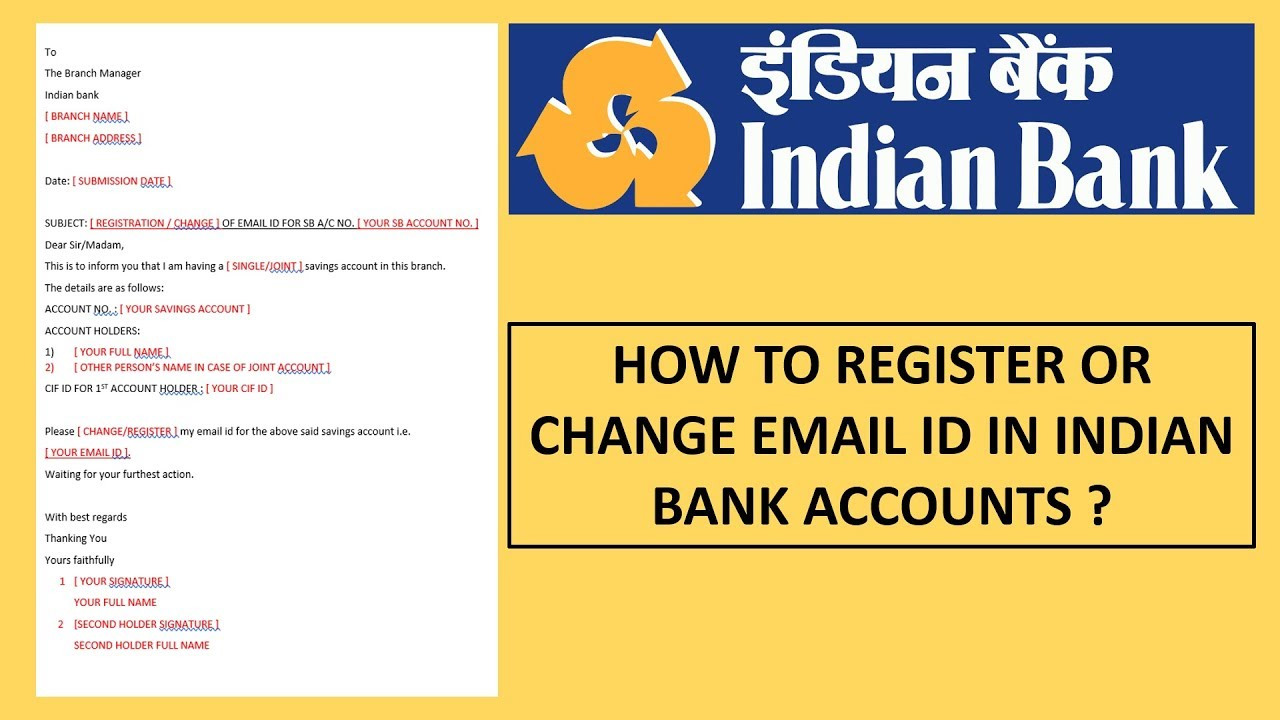 HOW TO REGISTER OR CHANGE EMAIL ID IN INDIAN BANK SAVINGS ACCOUNT [ HINDI ]?
