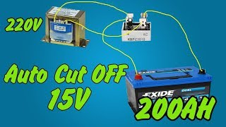 Auto Cut-Off Battery Charger 12V 24V | How to make