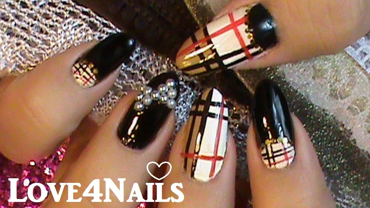 How to Easy Bow Using Nail Art Pearls & Burberry Nails - YouTube