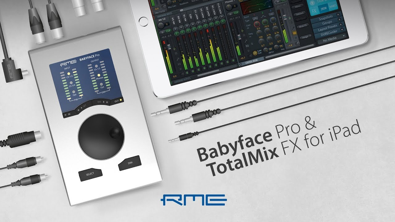 Babyface Pro Audio interface and TotalMix FX for iPad by RME Audio
