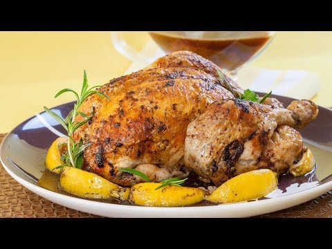 How To Roast A Chicken With  Lemon And Rosemary  - How To Truss A Chicken