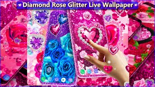 Glittery Backgrounds with HD Pink, Red or Blue Roses and Diamond Hearts | Live wallpaper 😍💓 screenshot 2