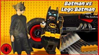 Batman stuck in Lego Batman Movie World! Puzzle Solve w Superman Cleaning Lady & Paul SuperHero Kids