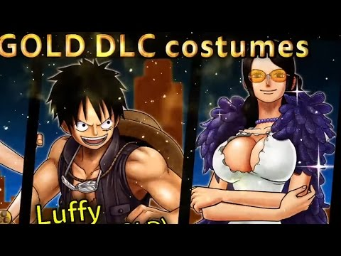 One Piece: Burning Blood - Luffy, Robin & Nami Gold Movie Pack Film Gold Costumes (Full HD)