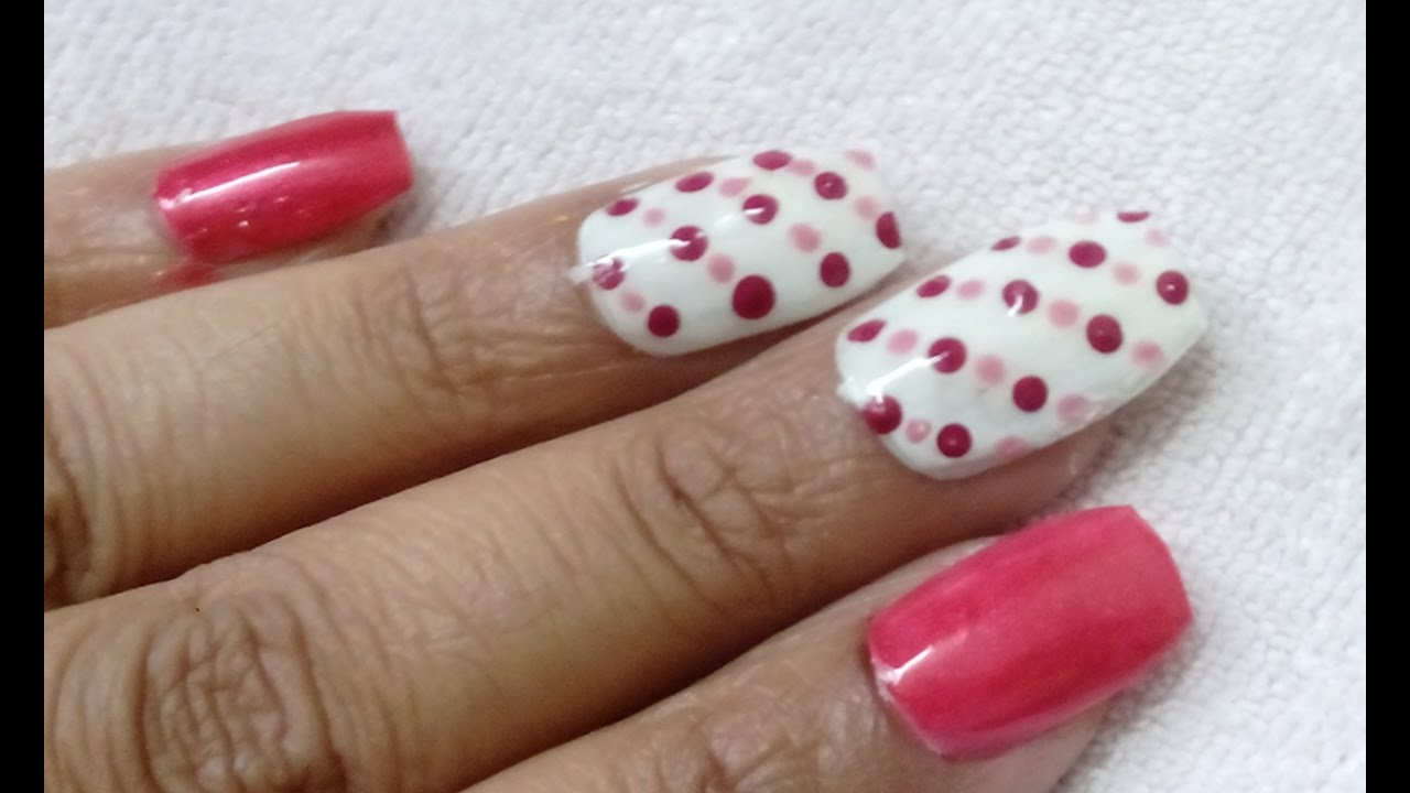 Simple easy nail art with making dots of dark colour and same colour ...