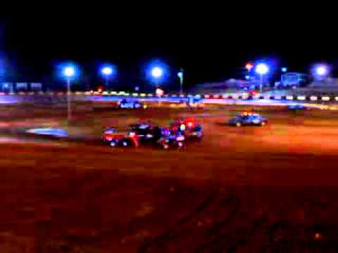 On his roof at Green Valley Speedway turn 3