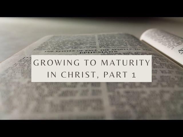 Growing to Maturity in Christ, Part 1 - Ephesians 4:13 (Pastor Robb Brunansky)