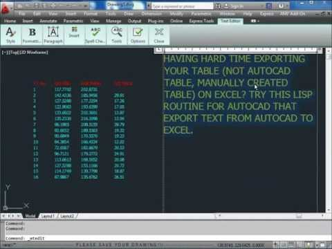 export autocad text to excel