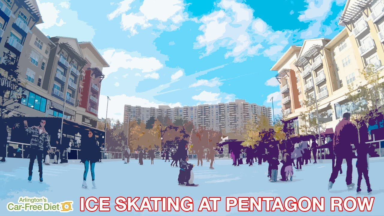 how to go car free to the pentagon row outdoor ice skating rink