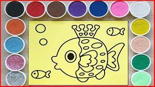 Tô màu tranh cát hoa hậu cá đại dương - Colored sand painting fishies - Đồ chơi Chim xinh