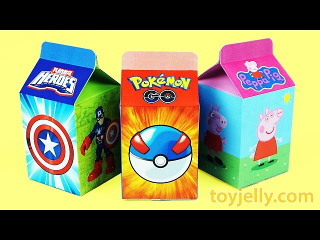 Learn Numbers 1 to 10 Milk Carton Surprise Toy Baby Doll Finger Family Song Peppa Pig Pokemon