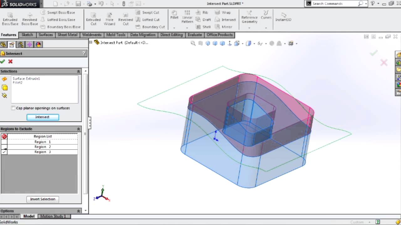 SOLIDWORKS - Basics of the Intersect Tool
