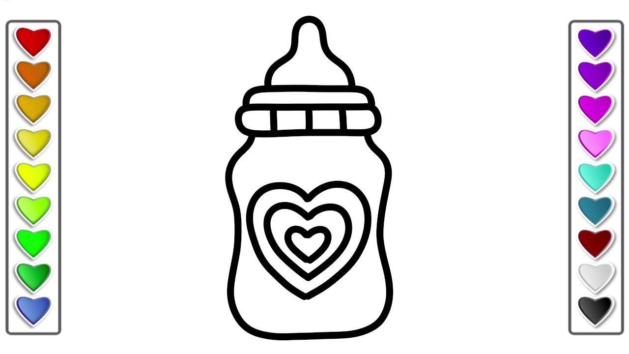 Color Heart Baby Bottle Coloring Pages Bottle In Coloring
