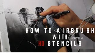 How to airbrush with HD Stencils - Airbrushing a PS4 with spiderman HD stencil