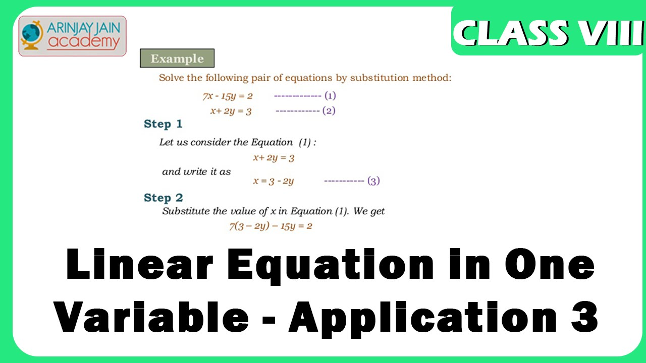 Linear Equation in One Variable - Application 3 - Equation - Maths ...