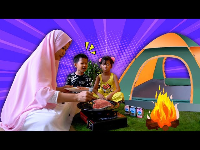Wahh!! Barbeque & Camping Keren Ala Hana    Liburan Seru Tenda Dalam Rumah ft Susu Cimory UHT Tayo