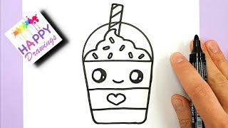How to Draw a Starbucks Frappuccino Cute and EASY | Cartoon Drink