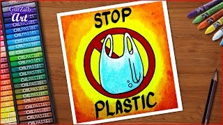 Stop Plastic Bags Pollution Poster Chart Drawing For Competition ( Very Easy ) Ban Poly Bags