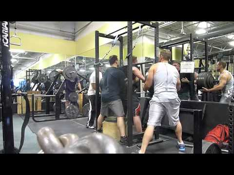 Chad Dresden Box Squat 500x5 w/ cambered bar, raw.