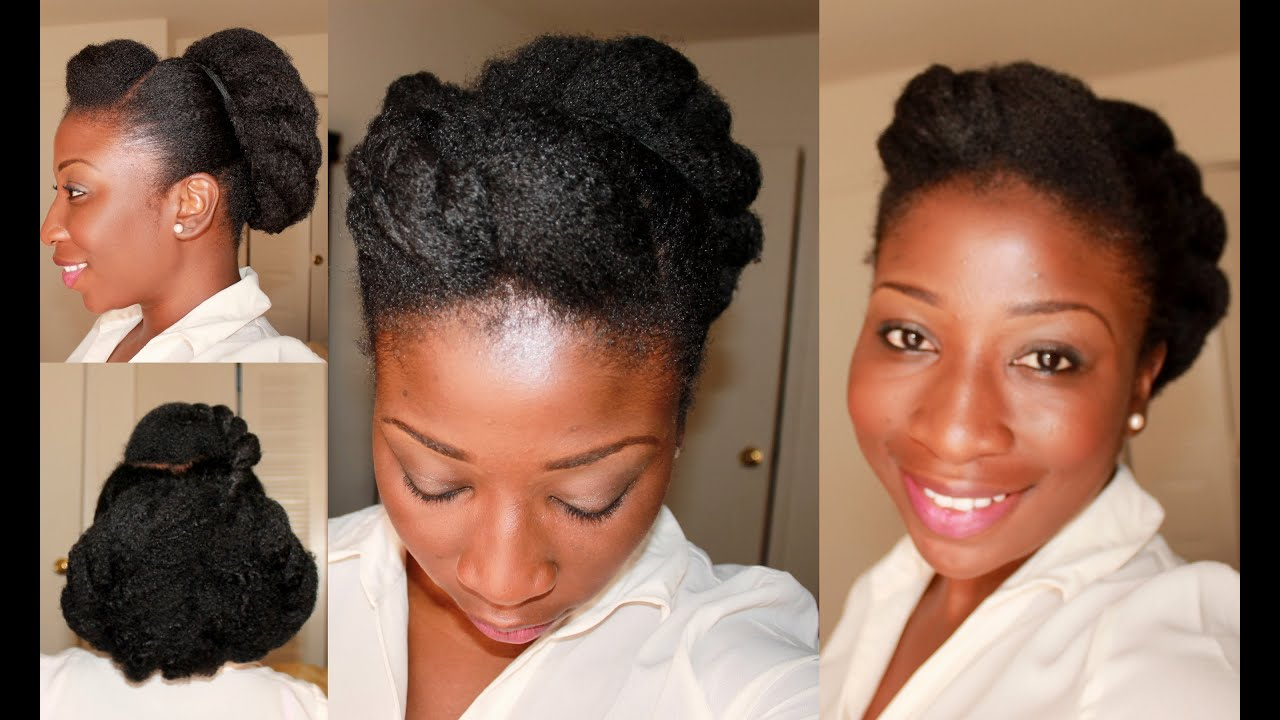 55) Protective Style: Low Flat Twist Bun Of Natural Hair