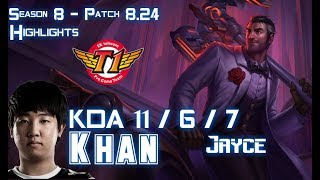 SKT T1 Khan JAYCE vs RYZE Top - Patch 8.24 KR Ranked