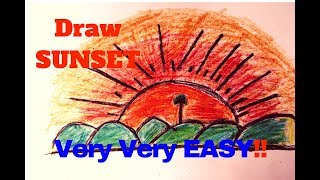 Sunset -How To Draw Sunset -Beautiful Sunset Drawing (Very Easy Step By Step )