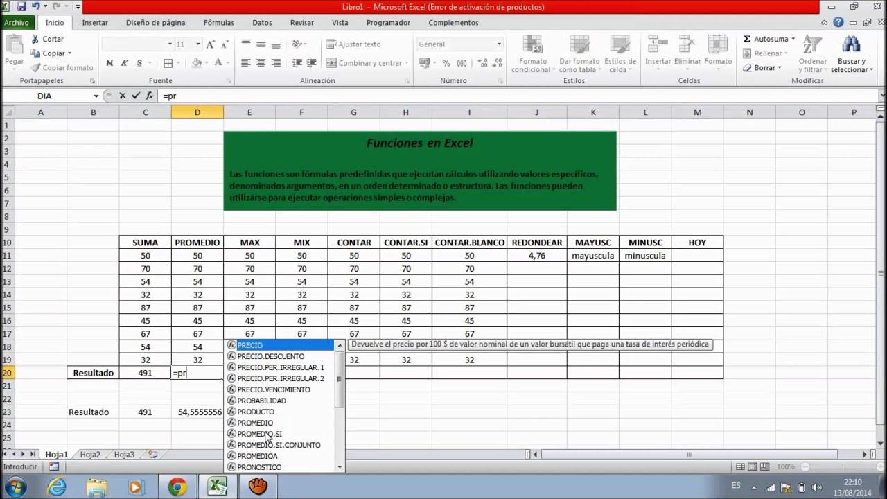 Funciones Basicas en Excel