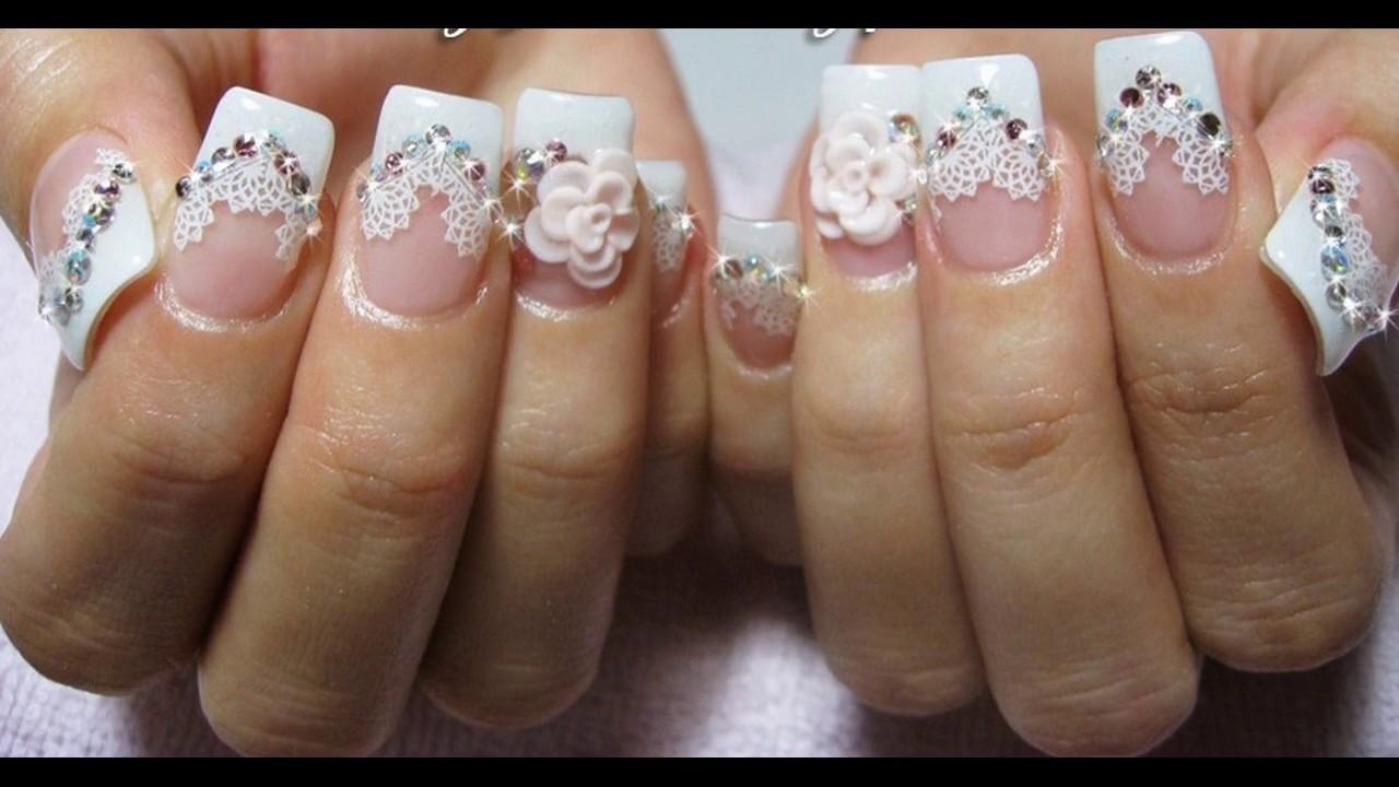 Diseño de uñas decoradas de boda sencillas y elegantes - YouTube