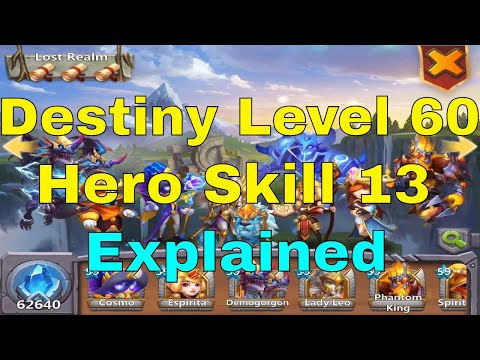 Castle Clash Destiny Level 60 Hero Skill Level 13 Explained