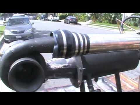 DIY jet engine running on diesel fuel the first time