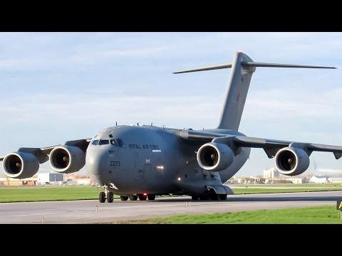 Royal Air Force C-17 Globemaster (C17) landing & departing Montreal (YUL/CYUL)