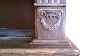 Книжный шкаф библиотека с элементами резьбы. Массив дуба.