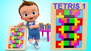 Tetris Puzzle Wooden Blocks Shapes Toy 3D - Learn Colors for Children Kids Baby  Educational Toys