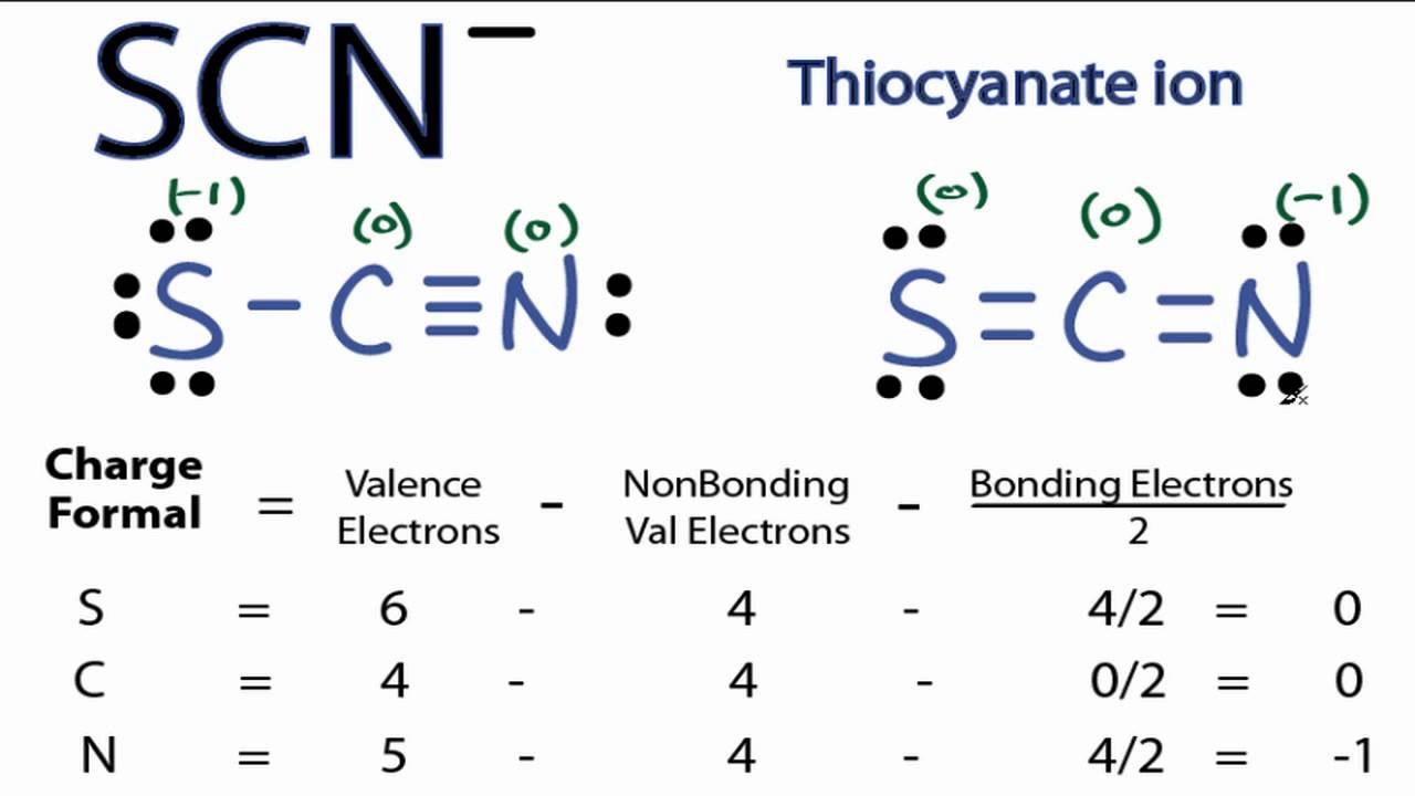 medium resolution of scn lewis structure how to draw the lewis structure for scn thiocyanate ion youtube