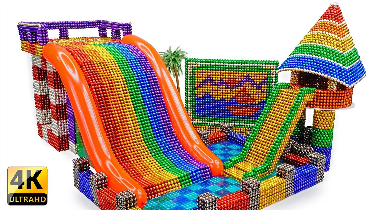 DIY - Build A Rainbow Inflatable Water Slide Pool With Magnetic Balls (Satisfaction) - Magnet Balls