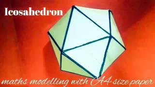 Icosahedron | maths model 3d shapes using A4 paper