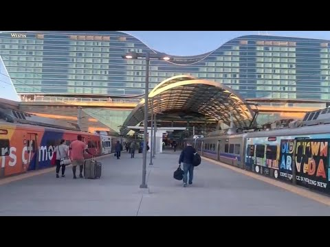 Train From Denver International Airport To Downtown Denver Union Station RTD A Line Transit