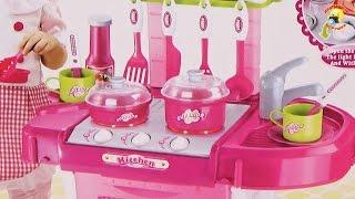 Детская кухня-чемодан. Готовим ужин. Игровой набор / Kitchen suitcase, play set for girls(Обзор и распаковка детской кухни, которая превращается в чемодан. Готовим вместе ужин и нарезаем фрукты...., 2015-08-19T16:45:56.000Z)