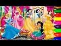 Disney Princesses Cinderella,Ariel,Belle,Snowwhite,Rapunzel Coloring Pages kids Learning Colours