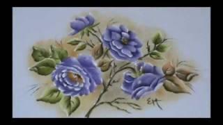 Pintura em Tecido Rosa Porcelanizada