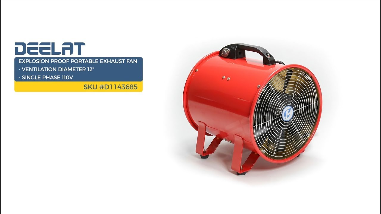 explosion proof portable exhaust fan ventilation diameter 12 single phase 110v sku d1143685