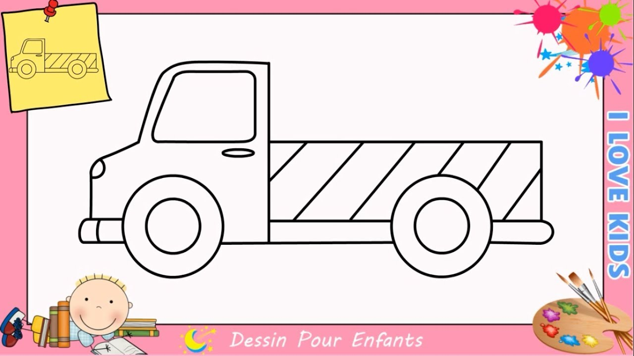 Comment dessiner un camion facilement etape par etape pour - Dessiner un camion de pompier ...
