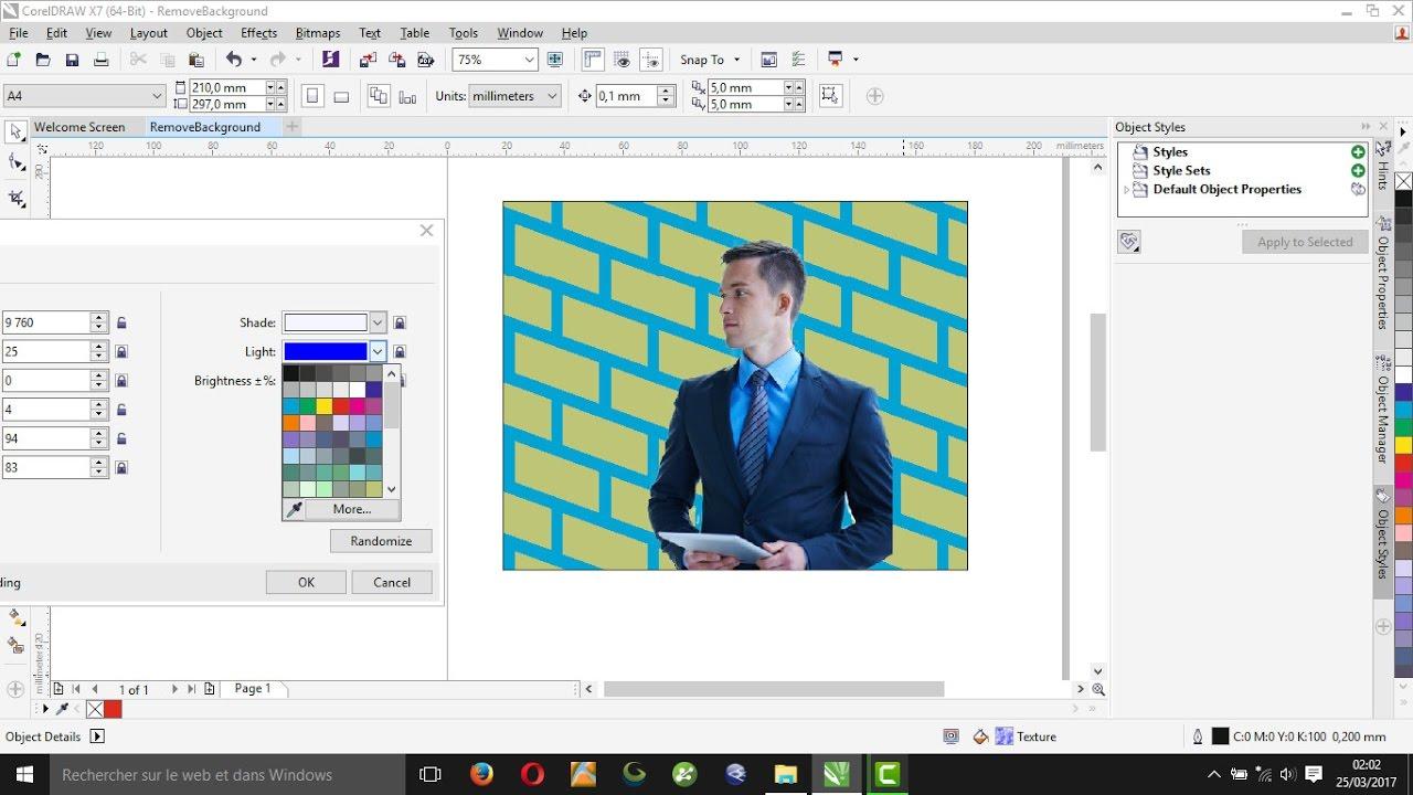 remove background of image in coreldraw x7
