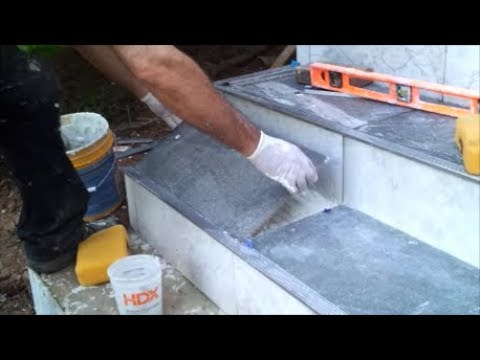 how to tile an outdoor concrete stairs part 2 tile the horizontal side step by step