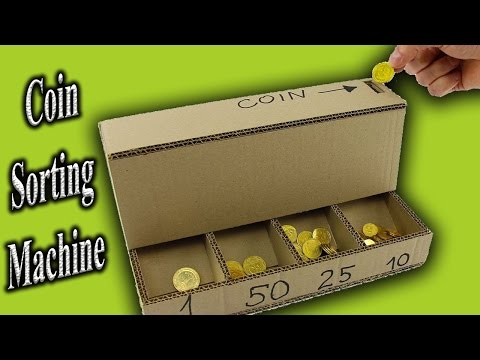 Make Coin Sorting Machine from Cardboard - DIY Coin Sorter at Home for kids
