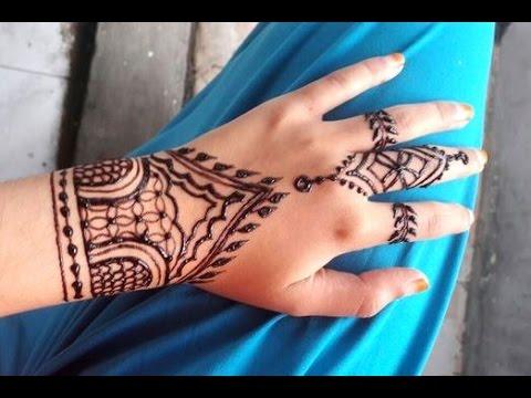 Tattoo Mehndi Tangan : ᴴᴰ diy simple henna mehndi art tutorial tangan youtube