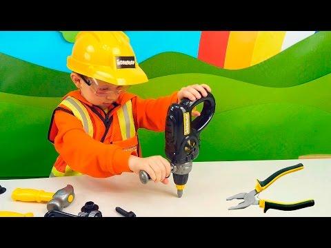 Маленький строитель Даник и Игры с Игрушками для мальчиков - Детские инструменты и машинка Bruder