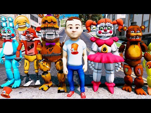 REDHATTER GOES CRAZY WITH ALL THE ANIMATRONICS! (GTA 5 Mods for Kids FNAF Redhatter)