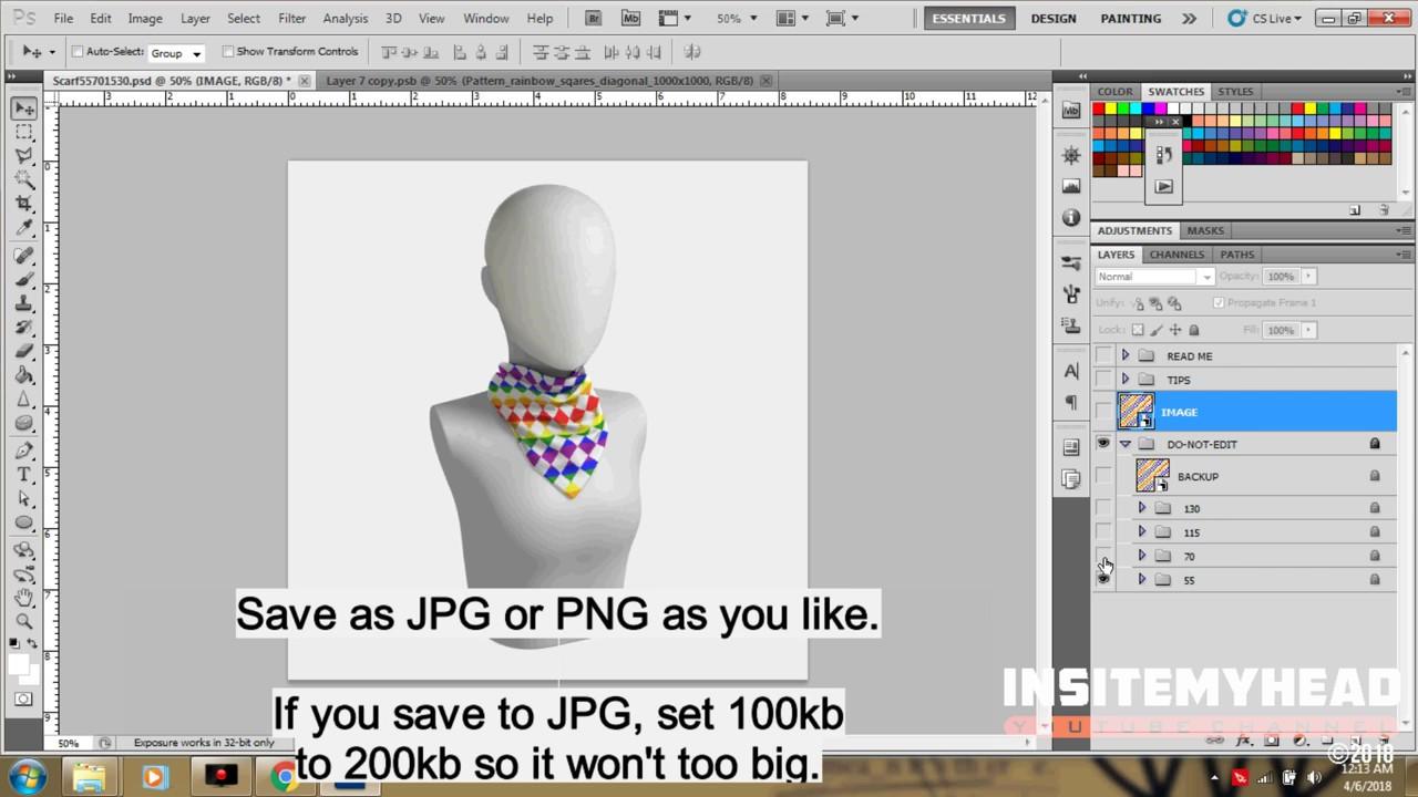 Realistic Square Scarf Mockup Designer PSD Photoshop Tutorial